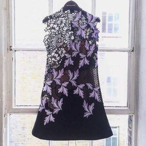 Self Portrait Black+Lilac Floral Lace Dress NWT